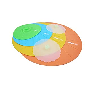 Silicone Lids Set of 4 with 2 cup lids - BPA Free, Strong Suction, Money Saver - Heat resisting, dishwasher, microwaveable & oven/ freezer safe - BEST OFFER ON AMAZON