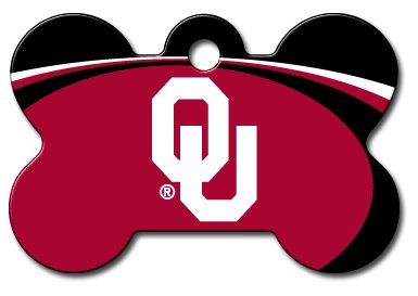 Personalized Laser Engraved 1.5 x 1 inch Oklahoma Sooners Bone Shape Pet ID Tag- Free Tag Silencer by dogIDS