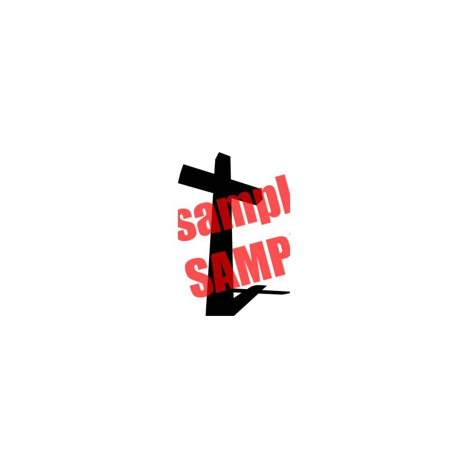CROSS SHADOW CHRISTIAN WHITE VINYL DECAL STICKER