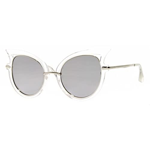 2195bcf3b7 30% de descuento Cheapass Gafas de Sol Ojos de Gato Redondas Negro Blanco  Espejadas Dama
