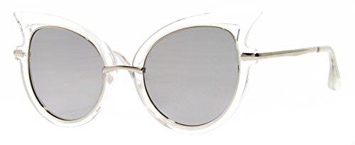 Vintage Ojos Sol Blanco Mujer Festival de de Transparente Espejadas Cateye Cheapass Gato Damas Gafas Zw1F1v
