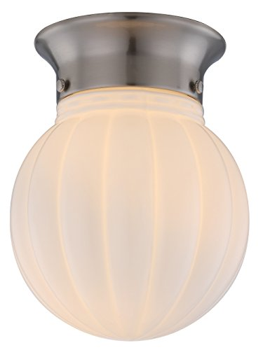 [1-Light Ceiling Flush Mount, Brushed Steel Finish with White Ribbed Glass Globe, WISBEAM] (Sphere Wall Sconce Outlet Box)