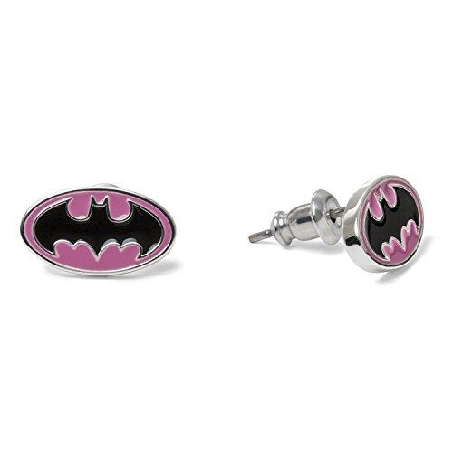 DC Comics Jewelry for Girls, Batman Silver Plated Logo Stud Earrings
