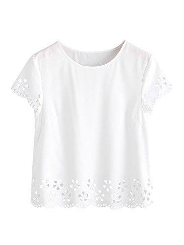 MakeMeChic Women's Loose Short Sleeve Solid T-shirt Tops Laser Cut Blouse White (Eyelet Top)