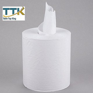 (Tabletop king 1-Ply White Center Pull Paper Towel 990' Roll - 6/Case)