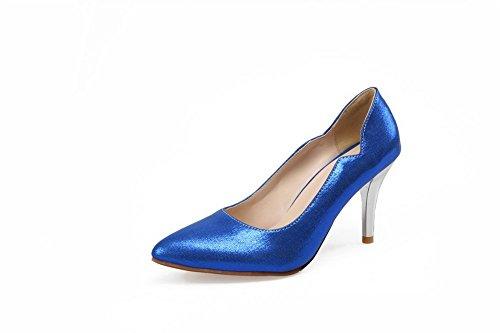 Balamasa Womens Burst Crack Pull-on Materiale Morbido Pumps-scarpe Darkblue