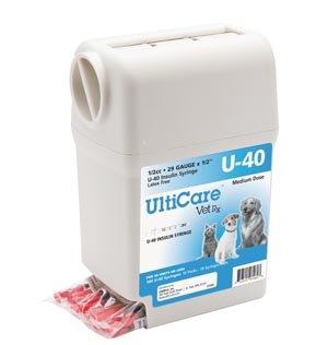 ULTIMED ULTRICARE VETRX DIABETES CARE INSULIN SYRINGES UltiGuard U-40 Syringe Dispenser, 29G x ½'', 1/2cc, 100/bx by Ultimed