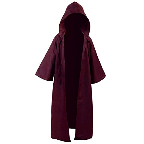 Hooded Rat - Men TUNIC Hooded Robe Cloak Knight Fancy Cool Cosplay Costume, Burgundy, Kids XL