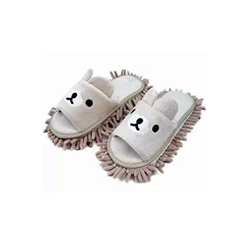 - Liitrton 1 Pair Detachable Mop Slippers Shoes Microfiber Chenille Soft Comfortable Dust Dirt Hair Cleaner (Beige)