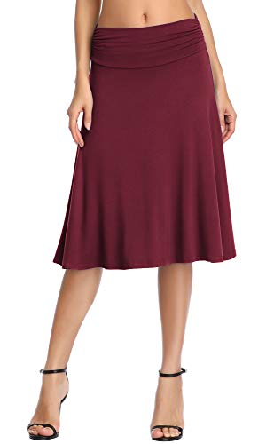 Urban CoCo Women's Ruched Waist Stretchy Flared Yoga Skirt (XL, Wine Red)