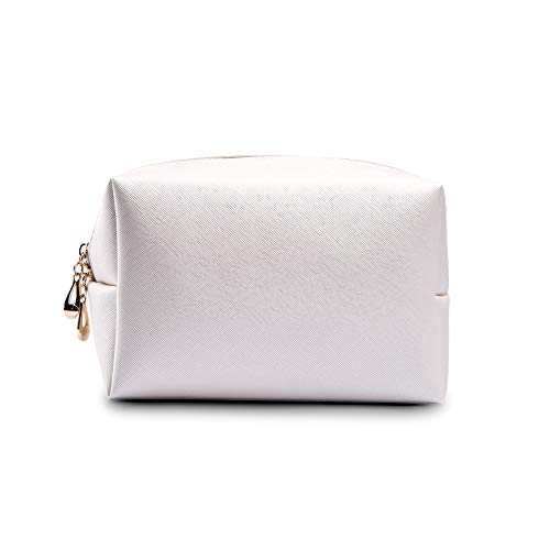 (Makeup Bag Large Handy Cosmetic Bag with Zipper Toiletry Pouch Travel Bag for Brushes Storage Pouch (White))