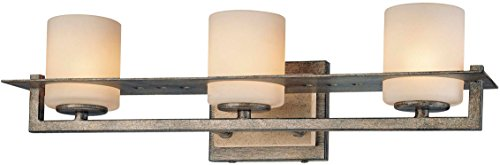 - Minka Lavery Wall Light Fixtures 6463-273 Compositions Glass Bath Vanity Lighting, 3 Light, 225 Watts Halogen, Iron