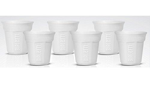 Bialetti Espresso Cups - Bialetti Ottagonali - Set 6 espresso coffee cups white