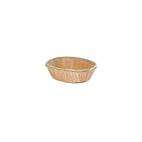 TableCraft 1176W Oval Hand-Woven Plastic Basket - Dozen - Hand Woven Oval Basket