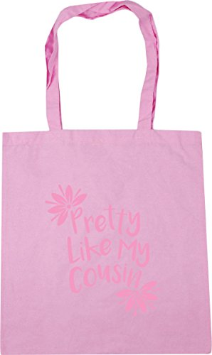 HippoWarehouse Pretty Like My Cousin Tote Shopping Gym Beach Bag 42cm x38cm, 10 litres Classic Pink