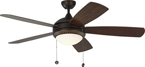 Monte Carlo 5DIO52RBD Protruding Mount, 5 American Walnut Blades Ceiling fan with 20 watts light, Roman Bronze