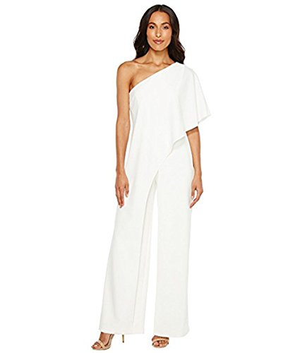Adrianna Papell Women's Flutter One Shoulder Jumpsuit, Ivory, 14 from Adrianna Papell