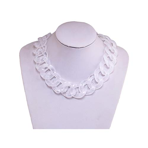 (BSJELL Acrylic Choker Necklace Chunky Resin Link Chain Statement Necklace Big Wide Collar Necklace Fashion Jewelry for Women Girls (White))