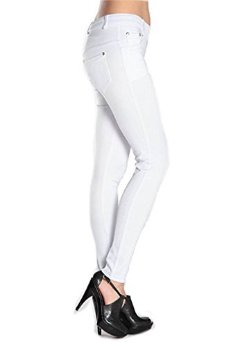 Yelete Women's Basic Five Pocket Stretch Jegging Tights Pants, White, Medium -