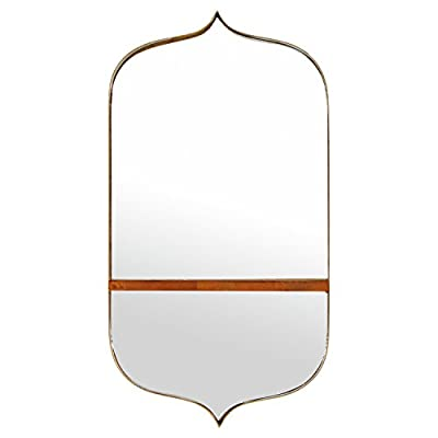 "Rivet Modern Curved Iron Mirror with Wood Shelf, 24""H, Gold Finish - Vintage and modern styles meet in this gracefully curved mirror with an attached shelf. Curves come to a peak at the top and bottom for an antique-like shape, while gold finish adds some glam. The wood shelf is a handy place for decorative items. Antique and glam elements with functionality Glass, iron with gold finish, solid rubber wood - bathroom-mirrors, bathroom-accessories, bathroom - 31rdob 58JL. SS400  -"