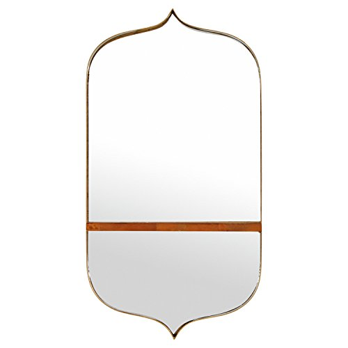 "Rivet Modern Curved Iron Mirror with Wood Shelf, 24"" H, Gold Finish"