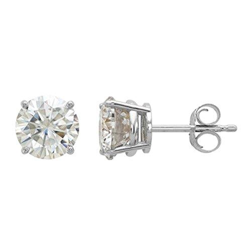 14K Gold 1.94ctw 6.5mm Round Moissanite 4-Prong Basket Post Earring Mens Or Womens Stud Earrings (2.00ctw DEW) (white-gold) -