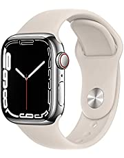 Apple Watch Series7 (GPS + Cellular, 41mm) - Silver Stainless Steel Case with Starlight Sport Band - Regular