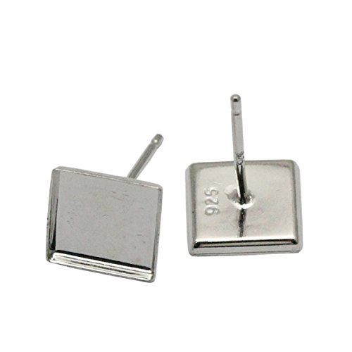silver earrings stud square earring base for inlay gemstone jewelry making for woman 5 pairs per lot (platina plated)