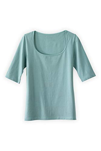 Fair Indigo Fair Trade Organic Elbow Sleeve Scoop Neck Tee (XS, Spa Blue) (Xs Spa)