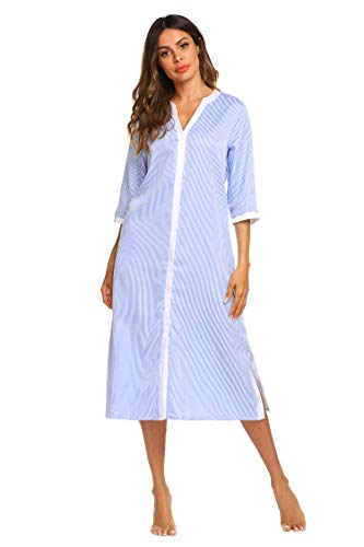 Ekouaer Women's Nightgown Cotton Short Sleeve Sleepwear Chemise Stripe House Coat(Light Blue,Medium) (Long Ladies Gowns)