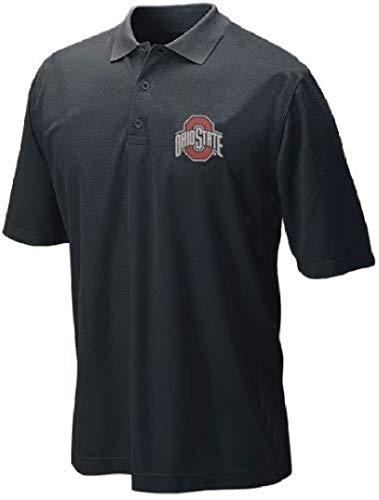 J America Ohio State Buckeyes Mens Black Screen Printed Dark Logo Synthetic Polo Shirt (XL=48)