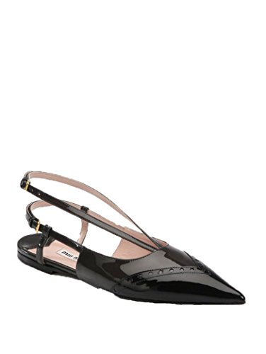 - Miu Miu Black Perforated Patent Leather Slingback Flats (5.5)