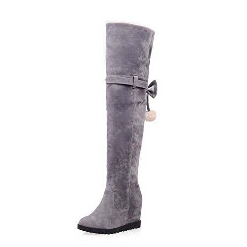 Round with High Solid Flock Closed Toe Gray Allhqfashion Heels Zipper Bowknot Women's Boots gvwqZn5CHx