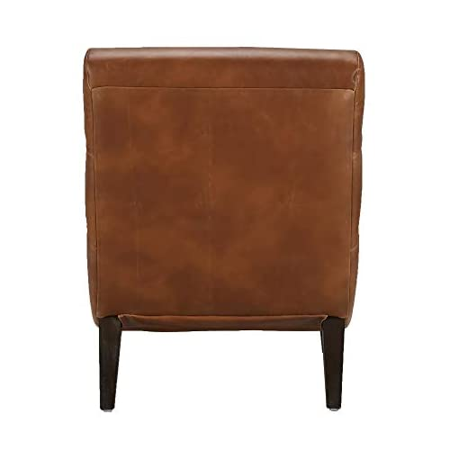 Farmhouse Accent Chairs CHITA Modern Faux Leather Accent Chair, Upholstered Armless Living Room Chair with Memory Foam, Cognac Brown farmhouse accent chairs