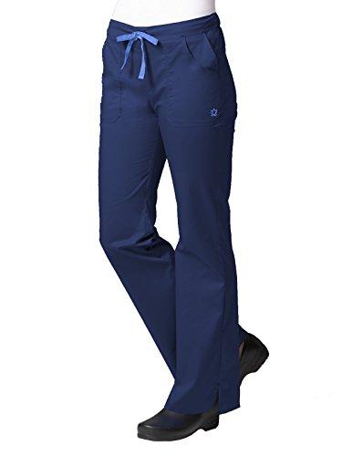 Blossom Women's Multi Pocket Flare Leg Scrub Pant,Navy/Ceil Blue, X-Large Petite by Maevn