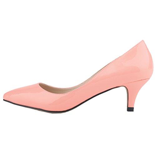 HooH Women's Pointed-toe Slip Candy Color Kitten Work Pump Pink zxCXg9kFqs