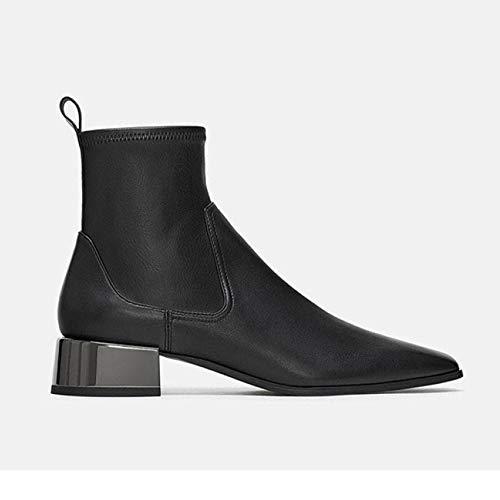 Cuero Tacones Para Con Regbking De b Bodas Invierno Fiesta Botines Vestir Chelsea Zapatos Mujer Altos Otoño Black Piel Brogues FrZrt