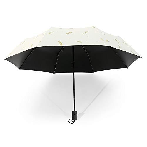 Drehome Sun Rain Umbrella UV Protection Compact, Automatic Foding Travel Umbrella Portable Windproof Rainproof Parasol Umbrella Black Anti-UV Coating White -
