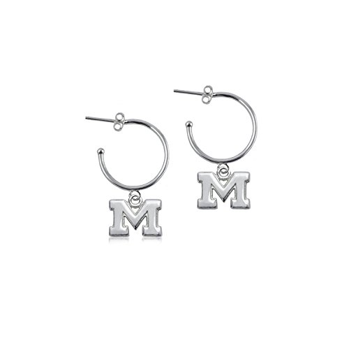 (University of Michigan Wolverines Sterling Silver Jewelry by Dayna Designs (Hoop)