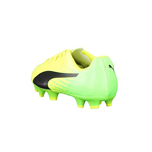 Puma Evospeed 17.4 Fg Jr, Botas de Fútbol Unisex Niños Safety Yellow-Puma Black-Green Gecko