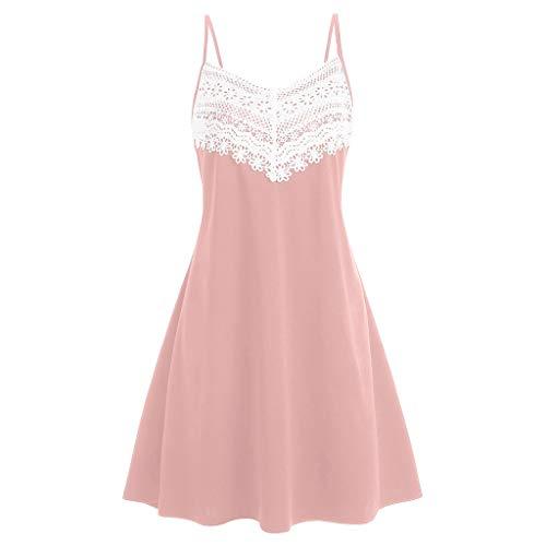 Aniywn Women's Summer Spaghetti Straps Dress Lace Patchwork Flare Swing Sundress Sleeveless Backless Mini Dress (S, Pink)