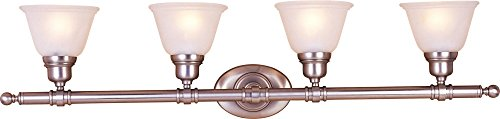 Maxim 7144FTSN Essentials 4-Light Bath Vanity, Satin Nickel Finish, Frosted Glass, MB Incandescent Incandescent Bulb , 28W Max., Damp Safety Rating, 3000K Color Temp, Standard Triac/Lutron or Leviton Dimmable, Opal Acrylic Shade Material, 2000 Rated Lumens