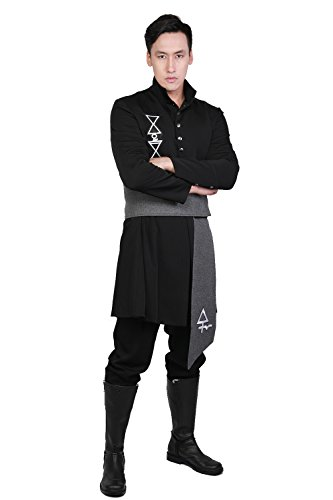 Xcoser Nameless Ghoul Costume Cosplay Ghost B.C.Costume Coat with Belt Clothing Black L -