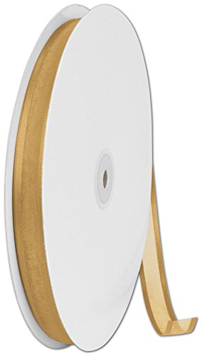 Ribbons Solid Color - Organza Satin Edge Gold Ribbon, 5/8