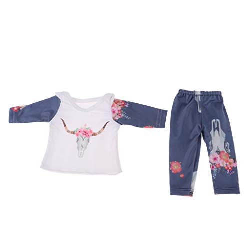 SM SunniMix 2pcs Cute Long Sleeve Top & Pants Casual Outfits for 18inch American Girl Doll DIY Accs
