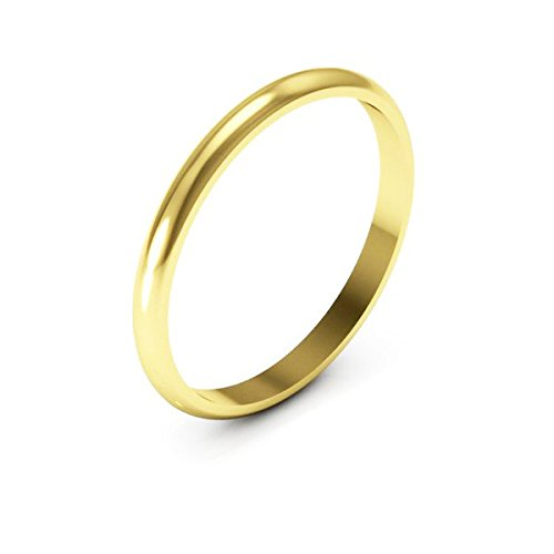 10K yellow Gold men's and women's plain wedding bands 2mm non comfort-fit light, 6.5