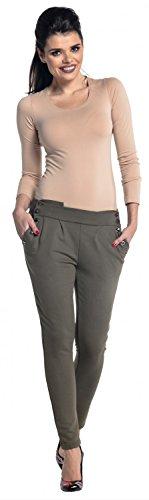 Zeta Ville - Treggings pantalones talle bajo bolsillos laterales - mujer - 258z Caqui
