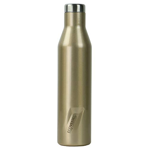 (EcoVessel Aspen - TriMax Triple Vacuum Insulated Stainless Steel BPA Free Water & Wine Bottle - Cold for 100 Hours (Gold Dust))