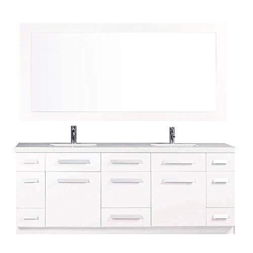 (Design Element Moscony Double Sink Vanity Set with White Finish, 84-Inch )