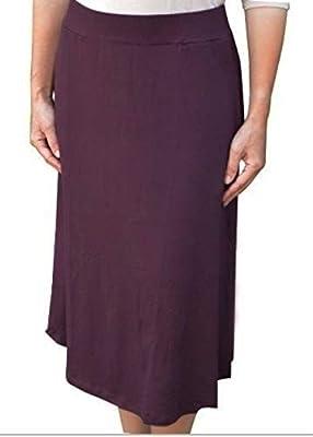 Kosher Casual Women's Modest Lightweight Mid-Calf A-Line Skirt with On Seam Pockets